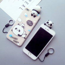 factory price cute soft 3d panda cartoon phone case silicone case for iphone 6 7 8 X, for Samsung galaxy S4 note7