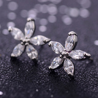 New Fashion Flower Earrings Pave CZ Stud Earrings For Women & Girls Vintage Silver Hypoallergenic Jewelry Accessories