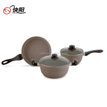 High Quality Cookware Sets Non-stick Frying pan/Saucepan Pot with Soft Handle Stone Cooking Pot