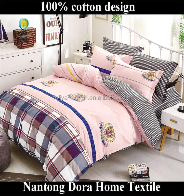 Hot sale high quality family 100% cotton The colorful bow of the bear printing crib bedding sets
