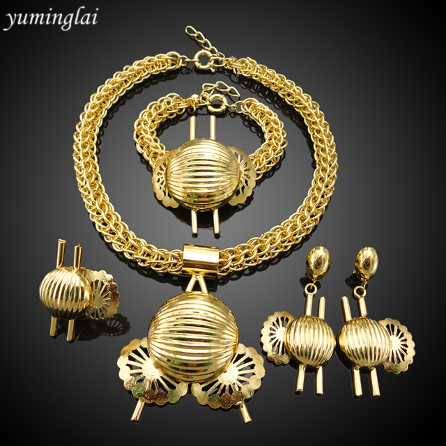 New Arrival 4pcs/set big Copper gold plated Party Jewelry set, Bride Jewelry set AHK004