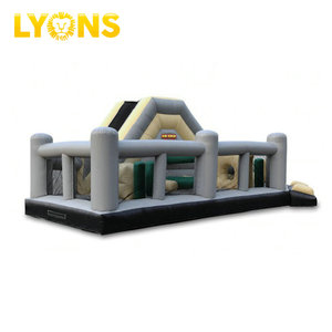 Commercial Inflatable Obstacle Course Adventure Inflatable Bouncer With Long Slide For All Ages