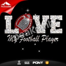 Heat Printed Love Football Glitter Vinyl Transfer For T Shirt