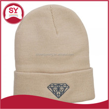 Big Size Diamond Embroidered Long Knit Beanie Hat