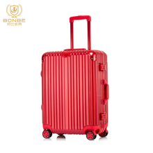 Promotion Custom Fashion Color China Supplier Aluminum Frame Red Trolley Smart Hand Case Luggage