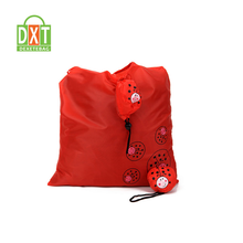 Factory wholesale high quality red polyester foldable shopping bag