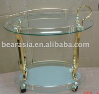 Golden Luxury Tempered Glass Hotel Furniture Serving Tea trolley