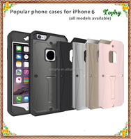 5 colors PC TPU hybrid kickstand slim armor case for iPhone 6 plus