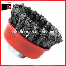 Twist knot steel wire cup brush for rust and paint removal