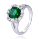 POLIVA Fashion Elegant Flower Shape Lab Created Emerald Silver Jewelry Ring