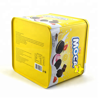 Square Customized Cookie Tin Boxes Food Packaging Cans