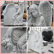 Hot sale marble weeping angel tombstone hand carved stone cemetery ornament