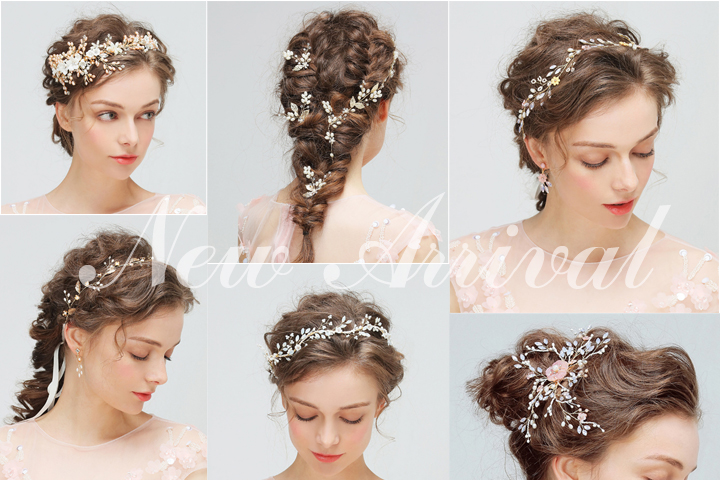 Wedding Flower with Rhinestone Bridal Headpiece Rose Gold Color Convertible Hair Vine Celebrity Dress Hair Accessories