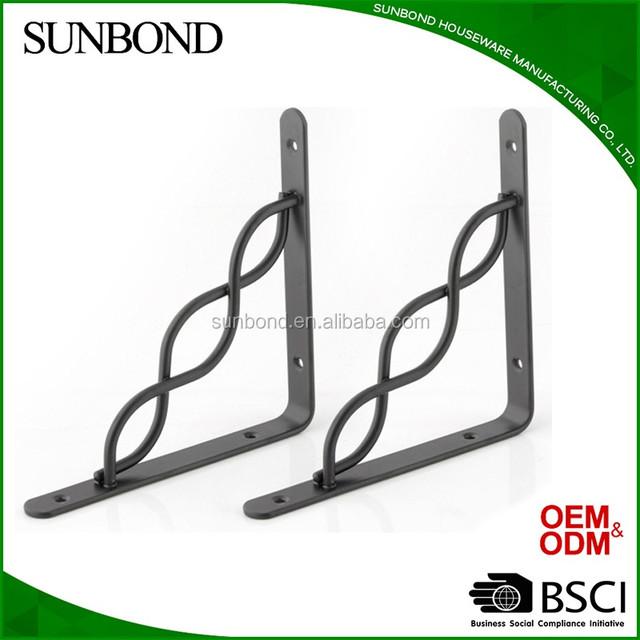 Customized decorative metal wall side mount shelf bracket