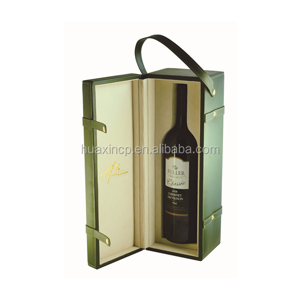 high quality portable leather wine carrier, wine box