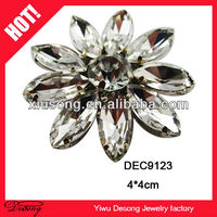 DEC9123 crystal flower clasp for garments /crystal clothing accessories