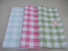 cotton/polyester waffle checked dish cloth