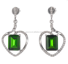 Natural Gemstone Green Chrome Diopside for Earring