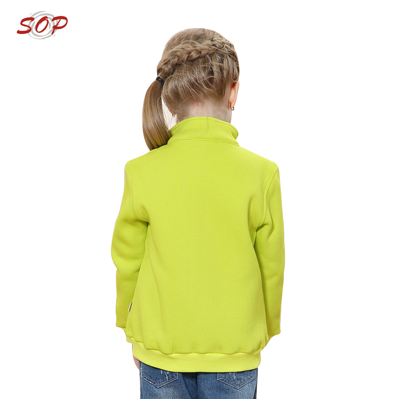 Custom blank children clothing factory zip up jackets tops girls sweatshirt