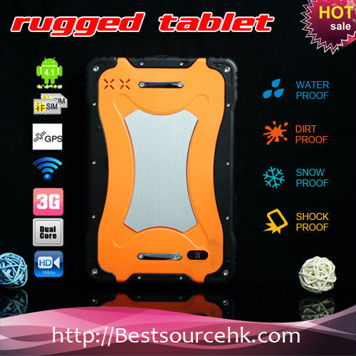 MTK6589 quad core / 2G/3G phone call / android 4.2 / 7 inch IPS capacitive screen rugged tablet PC with electronic compass