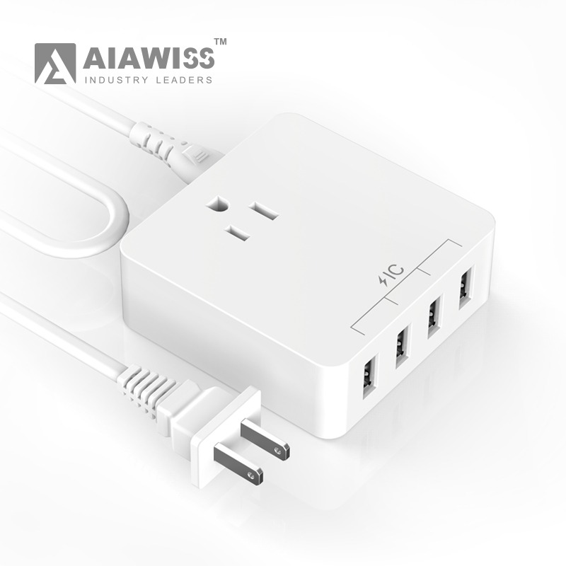 AIAWISS 5.0V/4A 4 Port USB Desktop Travel Charger for iPhone 6 - 6Plus, iPad Air 2, Galaxy S6 and Other Android Smartphone