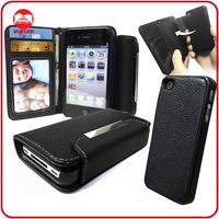 RF Manufacturer Smart 2 in 1 Removeable Wallet Detachable Magnet Leather Case for Iphone 4