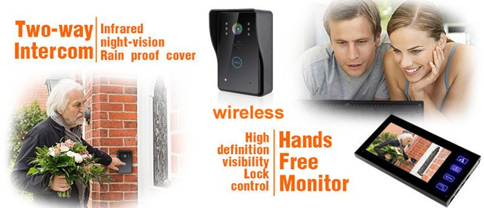 7 inch wireless color video doorbell phone intercom indoor monitors