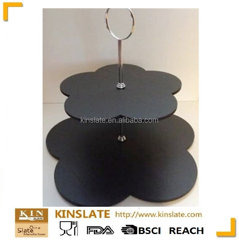Natural slate unique various shape 2 tier serving stand/cake display stand/wedding cake stand