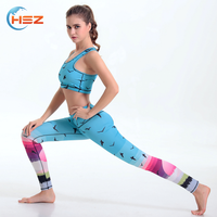 HSZ-YD46011 New Style Wholesale Apparel Women Yoga Pants And Bra Sport Fitness Gym Wear 92 Polyester 8 Spandex Leggings
