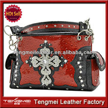 LADIES CONCEALED WEAPON RHINESTONE CROSS OSTRICH PURSE AND HANDBAG