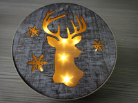 Round Wood Deer Head Laser cut LED light 10LED,diameter 22.5cm 28.5cm battery operated for home holiday decoration