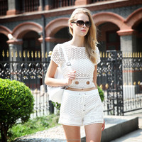 2016 summer girls top design cotton crochet lace top with gold metal zipper back