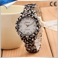 Colorful Geneva Dress Watch Women Lovely Rose Floral Printing Fashion Ladies Watches Relogio Feminino Fine Jewelry GW009