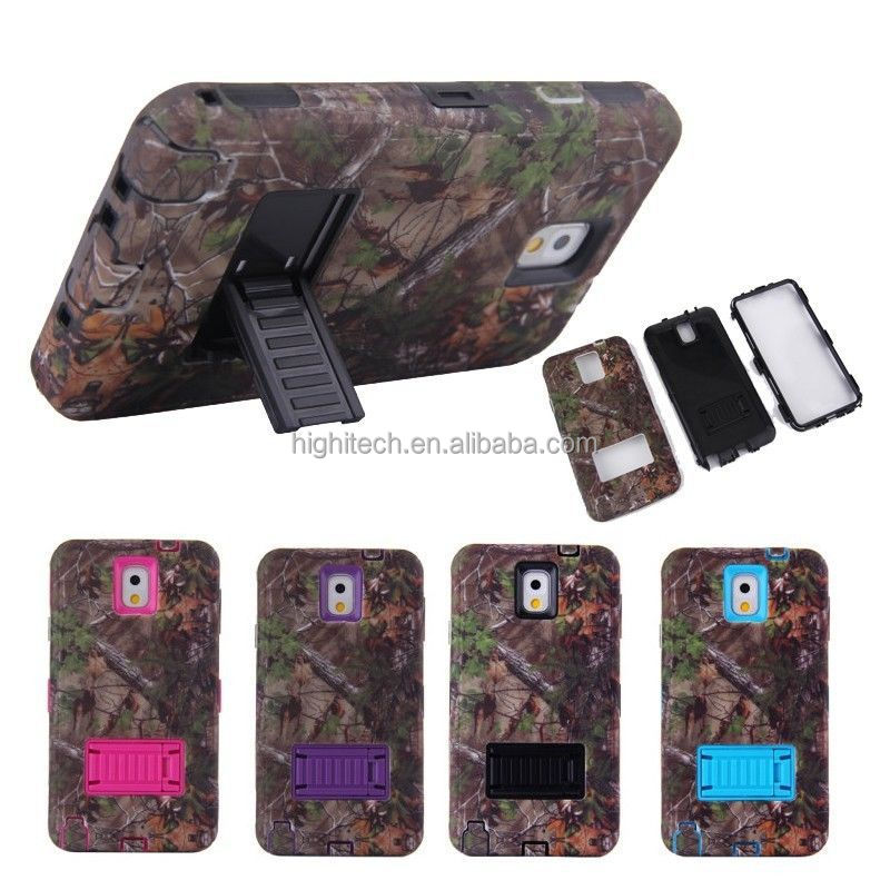 Triple Layer Real Tree Stand Hybrid Rubber Hard Case for Samsung Galaxy Note3 N9000