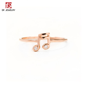 New Product Fashion Simple Alloy Crystal Music Note Charm Souvenir Rings for Girls