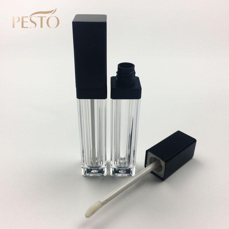 Empty refill lip gloss tube packaging with brush