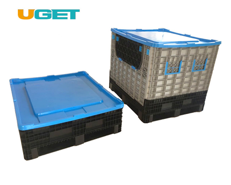 Large Folding Plastic Pallet Container Bin For Fruit And Vegetables Plastic Pallet Box With lid