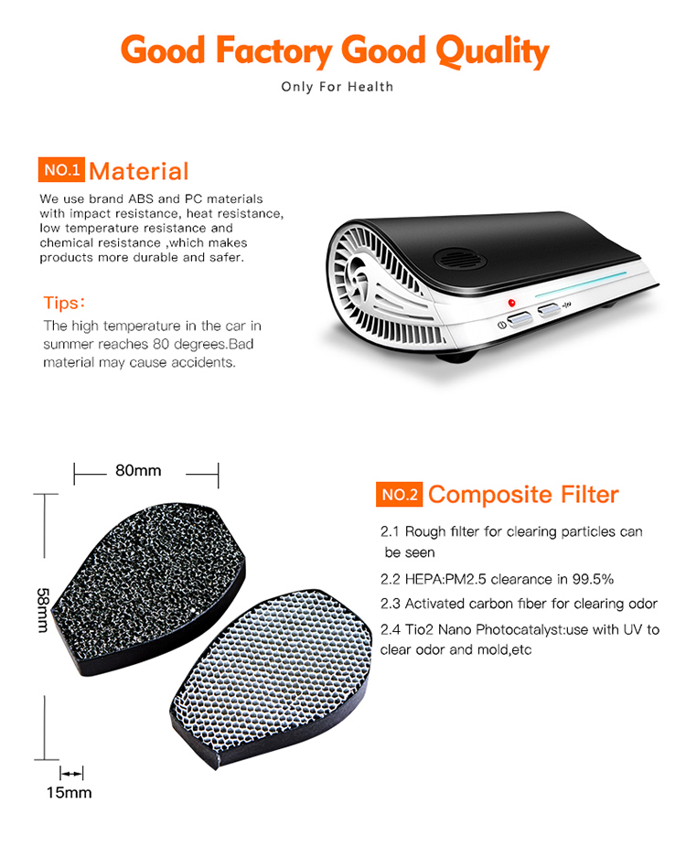 True hepa ionic air purifier for car