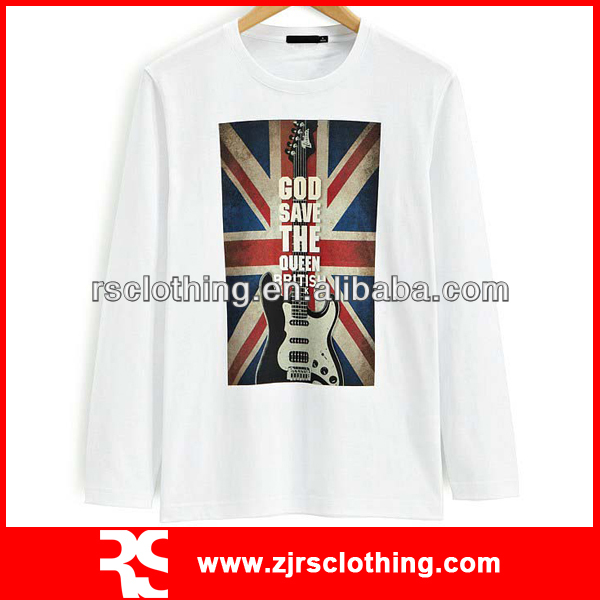 Mens Long Sleeve Combed Cotton White T Shirt with Custom Plastisol Print