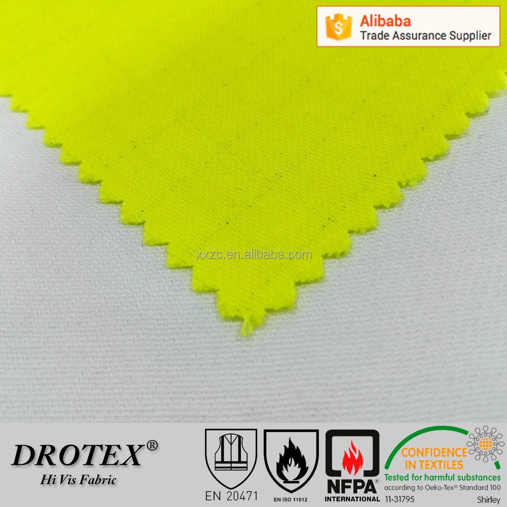 Antistatic Waterproof Fire Resistant CVC Fabric in High Visibility Yellow Color