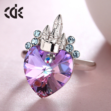 new design lady finger ring factory custom crystal fashion women jewelry 925 sterling silver ring with love heart shape