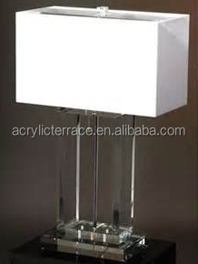 table lamp with acrylic body flax hanging