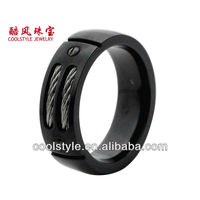 Top 10 titanium ring with steel cable inlay, black titanium ring, domed and grooved titanium men ring