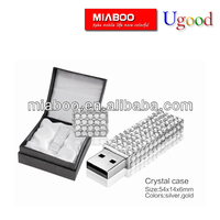 2014 Fashion crystal usb flash with black high quality gift box.Hot selling pebble pen usb jewelry