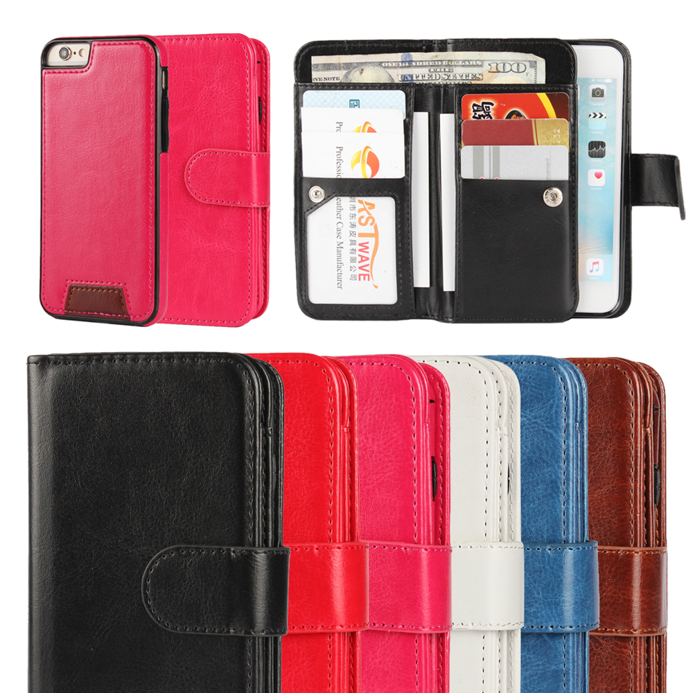 PU Leather 9 Card holder Multifunction Detachable Flip case For Iphone 5 6 6s 7 Plus Magnetic Wallet Cover Cases
