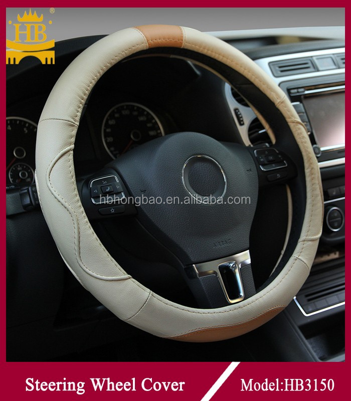 wholesale designer <strong>13</strong> inch genuine leather steering wheel cover