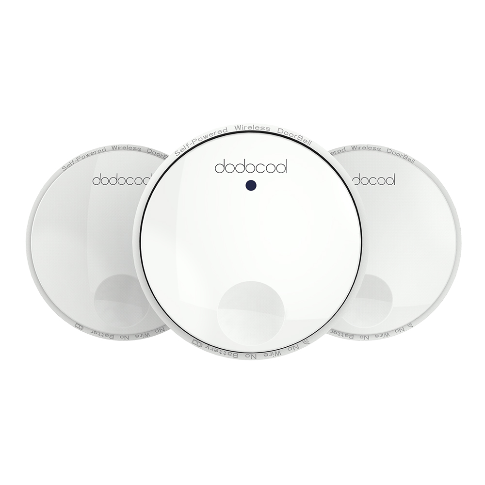 dodocool Wireless Doorbell Battery-free Door Chime CD Quality Sound LED Flash 38 Melodies 4 Volume Levels 262ft Range DH02