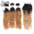1B/27 Deep Wave Ombre Weaving Dark Root #27 Blonde Color Bundle with 4*4 Swiss Lace Closure