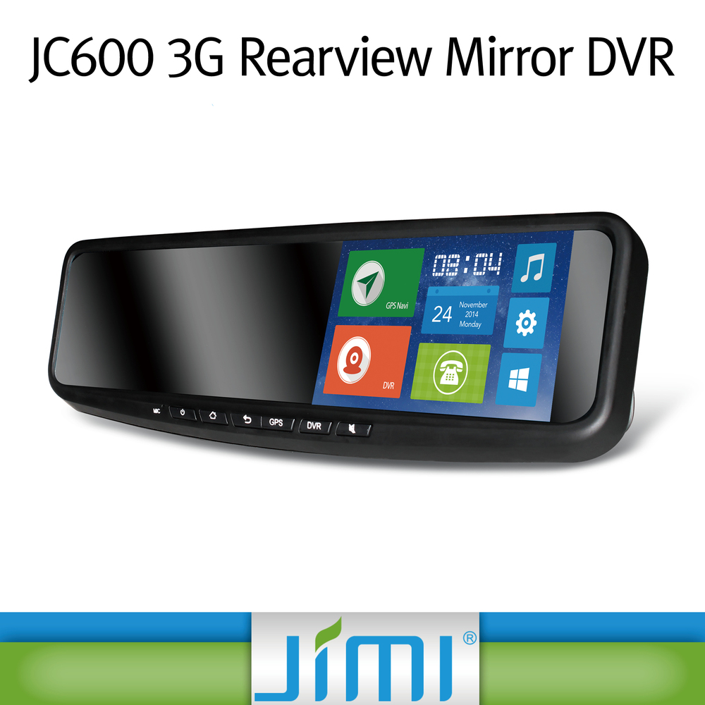 JIMI andriod wifi navigation gps newest 3g smart rearview mirror dvr dual camera