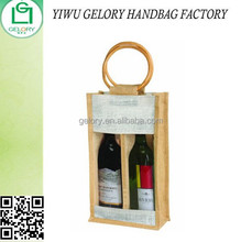 Eco-Friendly Reusable 2 Bottle Wine Carry Tote Bag in Jute/ Burlap with round cane Handle